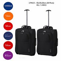 BARGAIN CHEAP BUNDLE SET  2x Trolley Cabin Hand Luggage Bag Fits within 55x40x20