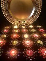 Set Of 10* Mehndi Plate Decoration 5* Crystal Tea Light Holders & 5* Candles
