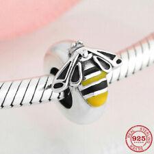 925 Sterling Silver Enamel Bee Charms Spacer Beads Jewelry fiit Pandora Bracelet