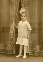 YOUNG GIRL w LARGE HAIR BOW - DROPPED WAIST DRESS - LOCKET ~ANTIQUE MATTED PHOTO