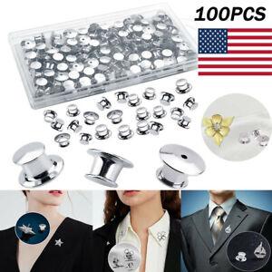 100Pcs Metal Pin Backs Silver Locking Clasp Lapel Tie Tacks Tag Holder with Box