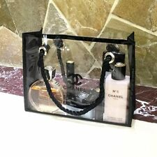 New Chanel Beaute Clear Transparent Makeup Pouch Cosmetic Bag Extra Large