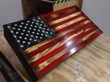 Rustic Wood American Flag Gun Concealment Cabinet Secret Hidden Tactical Storage