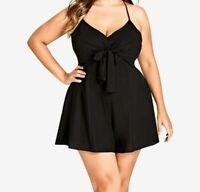 Womens City Chic Playsuit Tie Front Black size XL/AUS22 NWT RRP $99.95