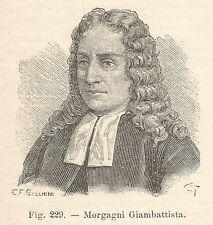 B1443 Giambattista Morgagni - Incisione antica del 1928 - Engraving
