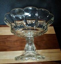 Antique Footed Clear Depression Glass -Compote Fruit Bowl - Wavy Scalloped Edge