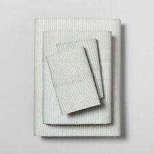 Hearth and Hand with Magnolia Organic Microstripe Sheet Set QUEEN Railroad Gray