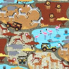 "2 yards 16 inches TIMELESS TREASURES ""AFRICAN SAFARI"" MINI SAFARI SCENE Safari"