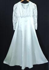 Vtg Formal Dress 60' Lace/Satin Maxi A-Line Empire Waist Size XS/S