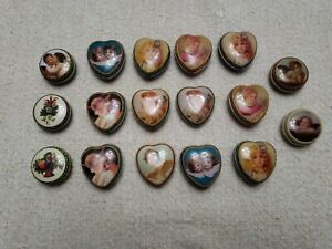 Lot of 17 Goldtone Victorian Scene Top Pill Boxes ~