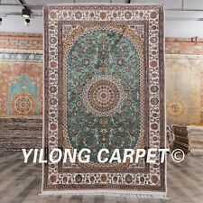 YILONG 4'x6' Green Classic Silk Rugs Hand Knotted Oriental Area Carpet Y217C