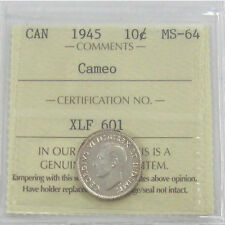 Canada  1945 Cameo  10 Cent  Coin  Certified ICCS MS-64