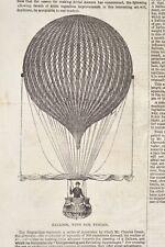 Balloon with sail Heißluftballon mit Segel 1846 Illustrated London News 40x26cm