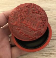 """Vtg Chinese Red Cinnabar Trinket Box Detached Lid Round 2.5"""" Trees House Forest"""