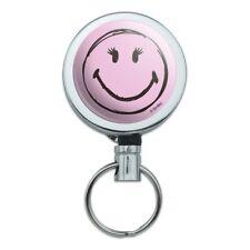 Smiley Smile Happy Girl Eyelashes Pink Retractable Belt Clip Badge Key Holder
