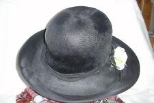 Damen Hut  schwarz, feines Stroh   Gr. 56 - 58,  ca. 60er Jahre, Blüte