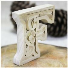 DIY Wooden Carved Alphabet Letter Home Décor Hand carved Wooden Handmade-F (9cm)