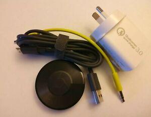 Google Chromecast Audio Streamer - Black (GA3A00159AUDIO) As new condition.