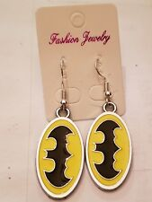 BATMAN SYMBOL LOGO  Silver FISH HOOK Earrings,