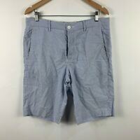 French Connection Mens Shorts Size 32 White Blue Striped Button Fly Closure
