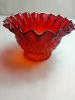 Vintage L.E. Smith Amberina Glass Daisy and Button Ruffled Bowl, Dish