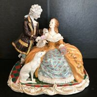 "Meissen Style Porcelain Courting Statue. 16"" x 14"" huge Reproduction Exquisite"