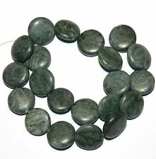 """NG2035f Green Marble Flat Puff Round Coin 19-20mm Gemstone Beads 15"""""""