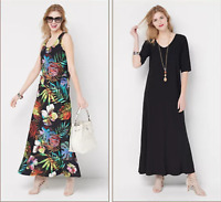 Attitudes by Renee Petite Set of 2 Printed & Solid Maxi Dresses-Tropical/Blk-P2X