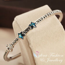 Thick 18K White Gold Filled Made With SWAROVSKI Crystal Three Stars Teal Bangle