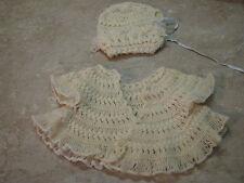 HAND-KNITTED Crochet VTG INFANT/BABY DOLL SWEATER Hat Cap Bonnet CREAM SET