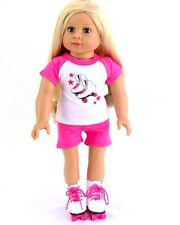 """Doll Clothes AG 18"""" Shorts Shirt Pink Roller Skates Shoes Fit American Girl Doll"""