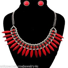 Style Spike Collar Necklace Set Red Textured Rhinestone & Beads Bohemian