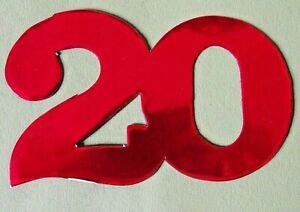 6 X  Deko-Zahl -20- * 6 cm  viele Farben - Tischdeko, Geburtstag, Jubiläum,