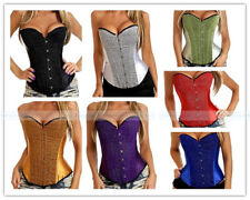 Shiny Satin Boned Overbust Corset Outerwear Top Lace Up Basque Partywear S-2XL