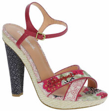 Desigual Tacon Alto Silvi 2 37-41 3-7 Sandals Pink Floral Canvas Leather EU 41 / UK 7