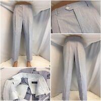 Kraus Seersucker Pants 34x28 Blue Stripe Cotton Pleats NWOT YGI C9-532