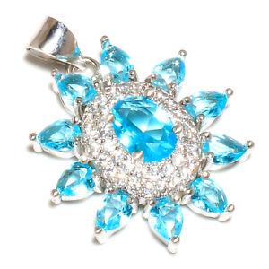 "Blue Topaz & White Topaz 925 Sterling Silver Pendant Jewelry 1.05"" M1566"