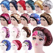 Women Satin Sleeping Hat Bonnet Hair Care Wide-brim Elastic Band Chemo Cap Lot
