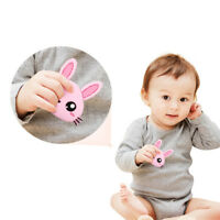 Cute Rabbit Head Teether Chew Silicone Teething Pendant BPA Free Baby Chew G