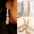 Luxury Womens Crystal Pearl Rhinestone Drop Dangle Chandelier Earrings Jewelry
