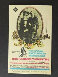 1969 MEXICAN MOVIE HANDBILL~BUTCH CASSIDY AND THE SUNDANCE KID~NEWMAN~REDFORD~