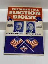 Skelly Oil Company PRESIDENTIAL ELECTION DIGEST Roosevelt v Willkie 1940 Booklet