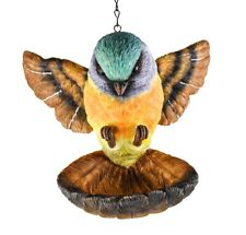 "Bird Feeder Bird Wings Spread, Landing. Resin Hanging Feeder 8"" x 8"" New"