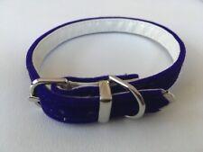 NEW Gorgeous PURPLE VELVET COLLAR size XXS 23 -27cm Tiny Dog Puppy Leather Lined