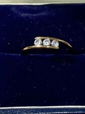 """Pretty 9ct Gold Cubic Zirconia Trilogy Ring -  Size """"O"""" ❤️Ideal Gift❤️"""