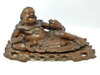 LARGE 18th Century ANTIQUE CHINESE CARVED WOOD LAUGHING BUDDHA LUCKY TOAD STATUE