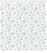Winter Shower Curtain Ornate Snowflake Motifs Print for Bathroom 70 Inches Long