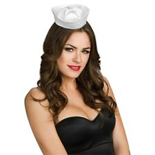 Mini White Satin Ladies Sailor Hat - Fancy Dress Costume Navy Uniform Womens