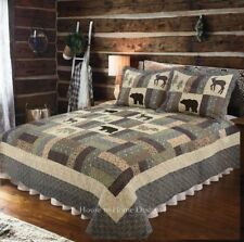 Mountain Highlands 3pc Cal King Quilt Set Black Bear Buck Brown Lodge Cabin