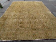 Old Hand Made Traditional Vintage Wool Faded Beige Distressed Carpet 384x293cm
